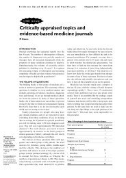 Critically appraised topics and evidence-based medicine ... - NVMO