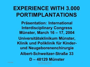 EXPERIENCE WITH 3.000 PORTIMPLANTATIONS