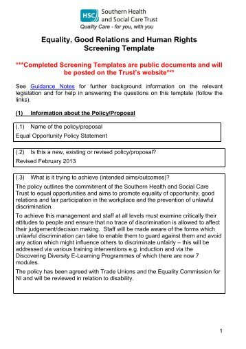 equal opportunity policy screening template feb2013 southern