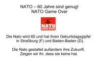 NATO – 60 Jahre sind genug! NATO Game Over - Gipfelsoli