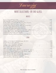 WInE SELECTIons - BY THE GLASS - Lucrezia Cafe and Catering