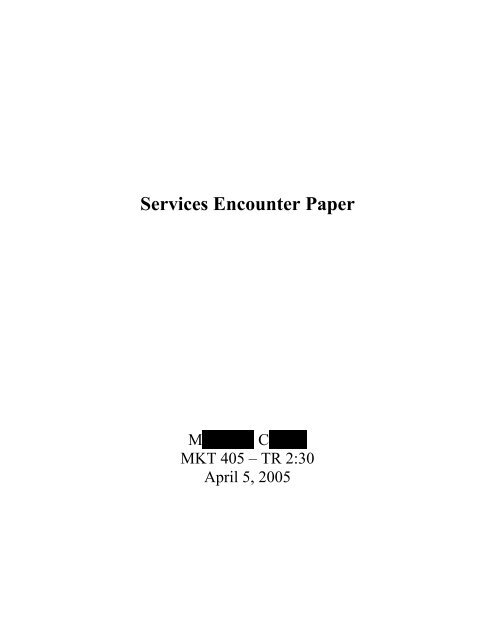 Service encounters thesis