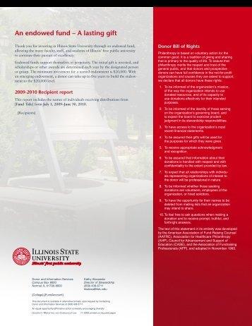 Sample FY10 Endowment Report - University Advancement - Illinois ...
