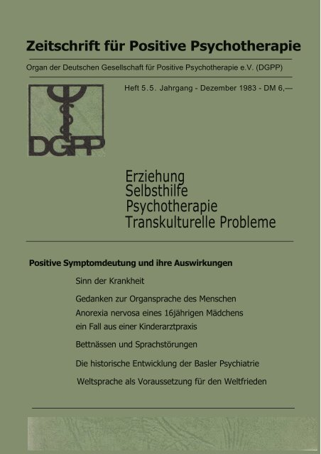 heft 5 komplett - Deutsche Gesellschaft für Positive und ...