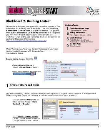 Blackboard 2: Building Content