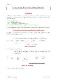 Fiche 4 : Grammaire les expansions du nom dans le groupe nominal