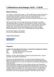 2. Winterthurer Anarchietage / 03.02 – 11.02.06