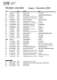 Probeplan - Musikverein Eintracht Hoengg