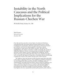 Instability in the North Caucasus and the Political Implications for the ...