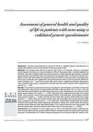 Assessment of general health and quality of life in patients with acne ...