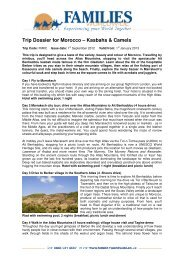 Trip Dossier for Morocco – Kasbahs & Camels - Families Worldwide