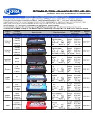 APPROVED 1S. 'STICK' Lithium (LiPo) BATTERY LIST. 2011. - Aecar
