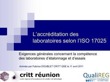 L'accréditation des laboratoires selon l'ISO 17025