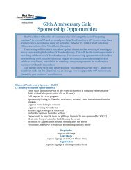 60th Anniversary Gala Sponsorship Opportunities - West Shore ...