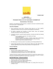 """""""Savills"""" or """"the Group"""" - Investor relations"""