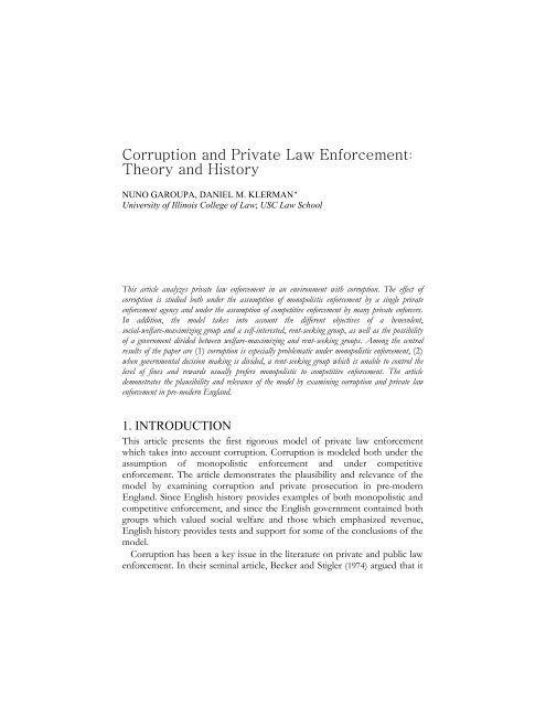 Corruption and Private Law Enforcement Theory and History