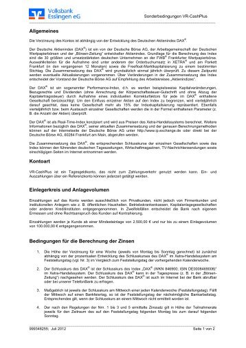 Sonderbedingungen für das VR-CashPlus - Volksbank Esslingen eG