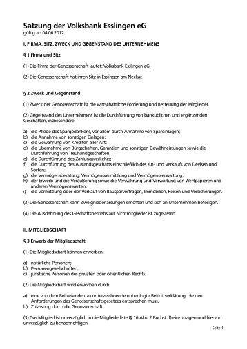 Satzung der Volksbank Esslingen eG