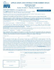 APPLICATION AND CONTRACT FOR EXHIBIT SPACE - Aapex