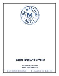 EVENTS INFORMATION PACKET - The Maritime Hotel