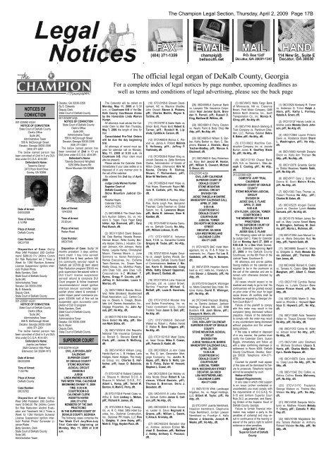 The Official Legal Organ Of Dekalb County Georgia Atlanta