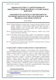 zhodnocení změn v zajištění dopravní obslužnosti v české republice ...