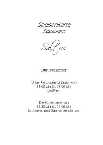 Speisenkarte - a la carte - Berghotel Oberhof