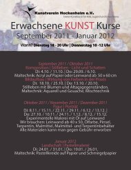 Erwachsene KUNST Kurse - Kunstverein Hockenheim