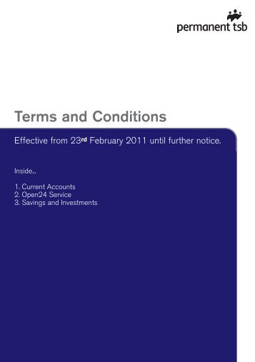 Current Accounts, Open24, Savings and ... - Permanent TSB