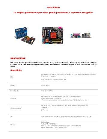 Asus P5N-D La miglior piattaforma per unire grandi prestazioni e ...