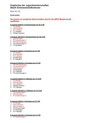 Ergebnisse der Jugendmeisterschaften Bezirk Schwarzwald ...