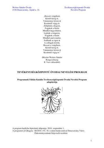 tevékenységközpontú óvodai nevelési program - Dunavarsány