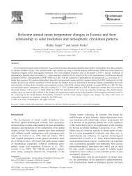 Holocene annual mean temperature changes in Estonia and their ...