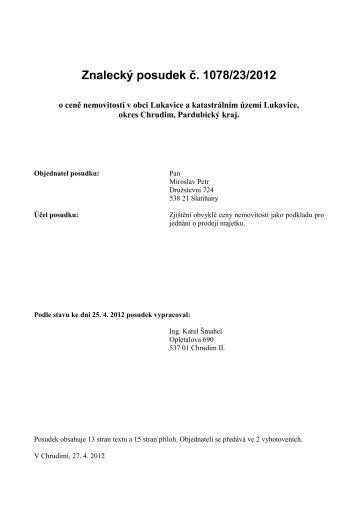 Znalecký posudek č. 1078/23/2012 - OKdrazby.cz