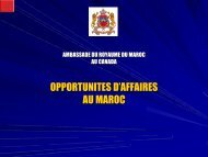 OPPORTUNITES D'AFFAIRES AU MAROC