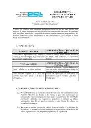 REGULAMENTO SAÍDAS AO EXTERIOR E VISITAS DE ESTUDO