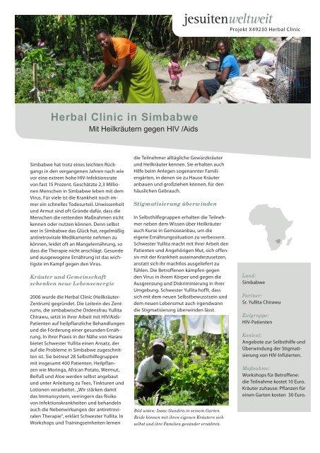 Projektblatt Herbal Clinic - Jesuitenmission