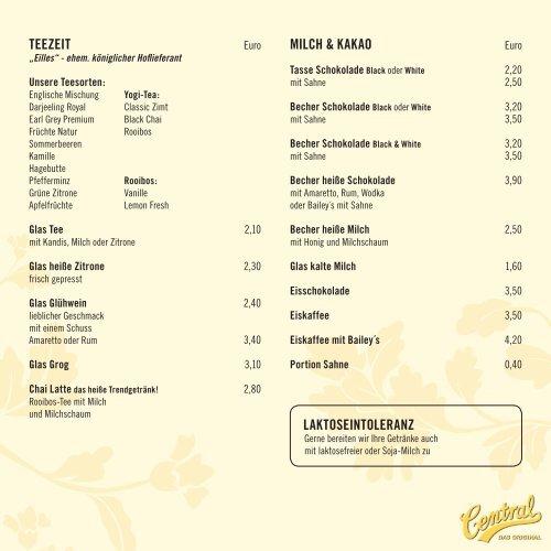 Cafe Central Speisekarte