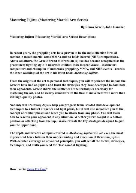 Mastering Martial Arts Series - PDF eBooks Free Download
