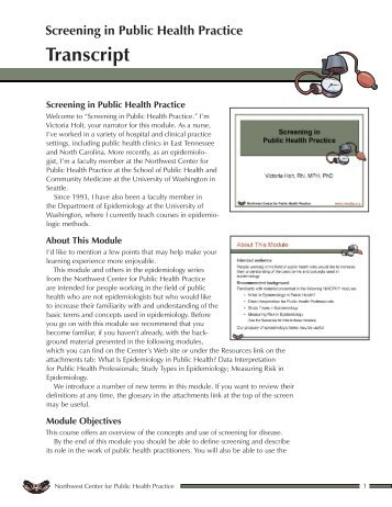 Course transcript - Northwest Center for Public Health Practice