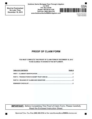 Notice And Proof Of Claim