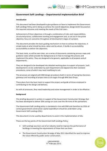 Government Soft Landings – Departmental ... - BIM Task Group