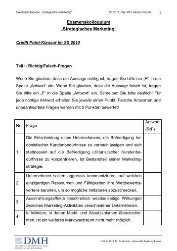 "Examenskolloquium ""Strategisches Marketing"" - Universität ..."