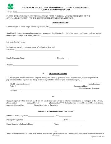 4-H Medical Forms - NC 4-H Youth Development