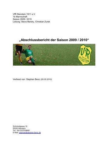 """""""Abschlussbericht der Saison 2009 / 2010"""" - VfR Nierstein 1911 eV"""