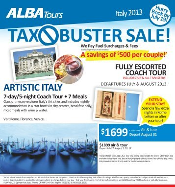 Italy Tours Tax Buster Sale! - Your Passport to all things Travel