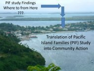 Translation of Pacific Island Families (PIF) Study into Community ...