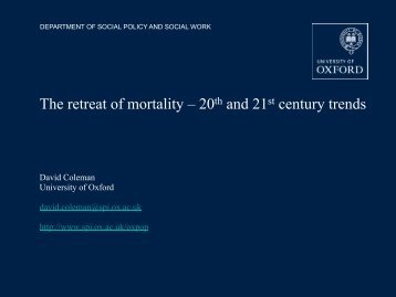 20th and 21st century trends - University of Oxford