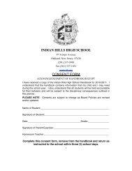 IHHS Student Hand Book - Ramapo Indian Hills High School District