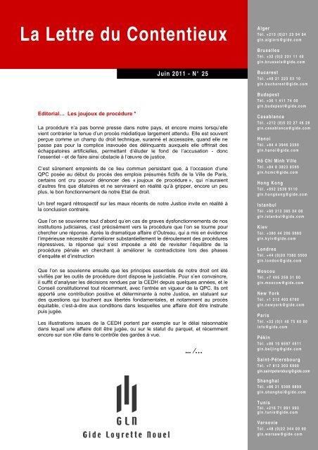La Lettre du Contentieux - Gide Loyrette Nouel